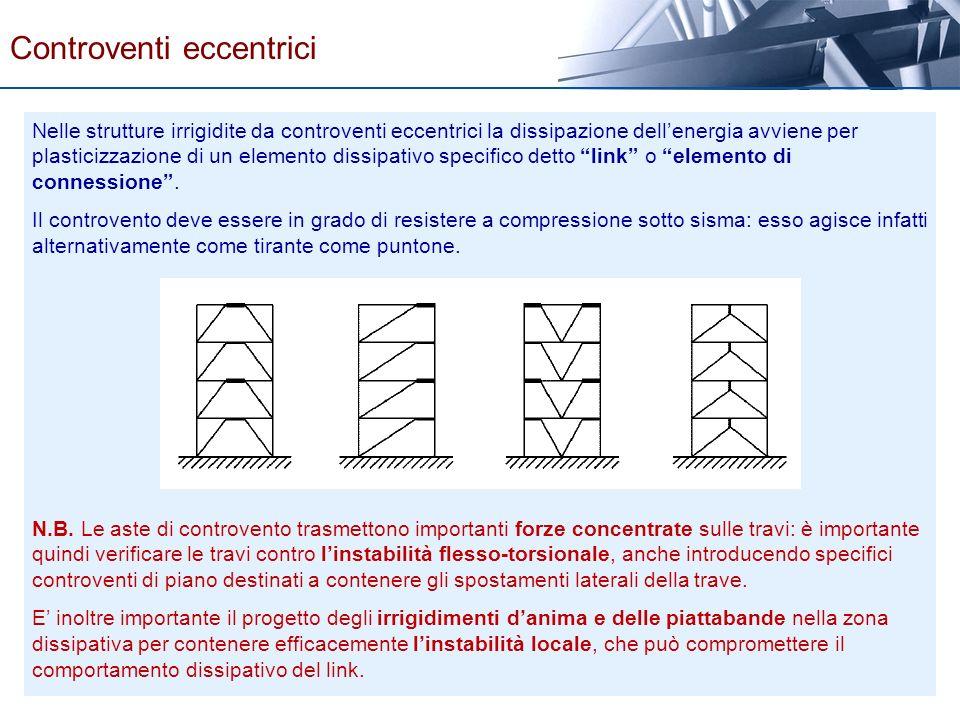 Nelle strutture irrigidite da controventi eccentrici la dissipazione dellenergia avviene per plasticizzazione di un elemento dissipativo specifico det
