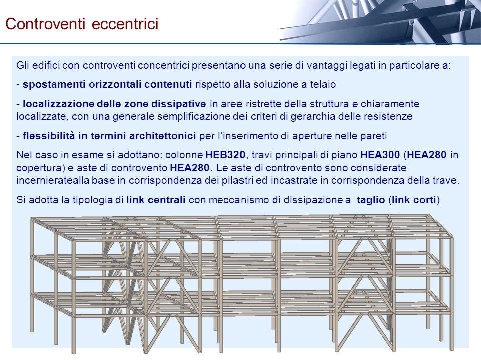 Gli edifici con controventi concentrici presentano una serie di vantaggi legati in particolare a: - spostamenti orizzontali contenuti rispetto alla so