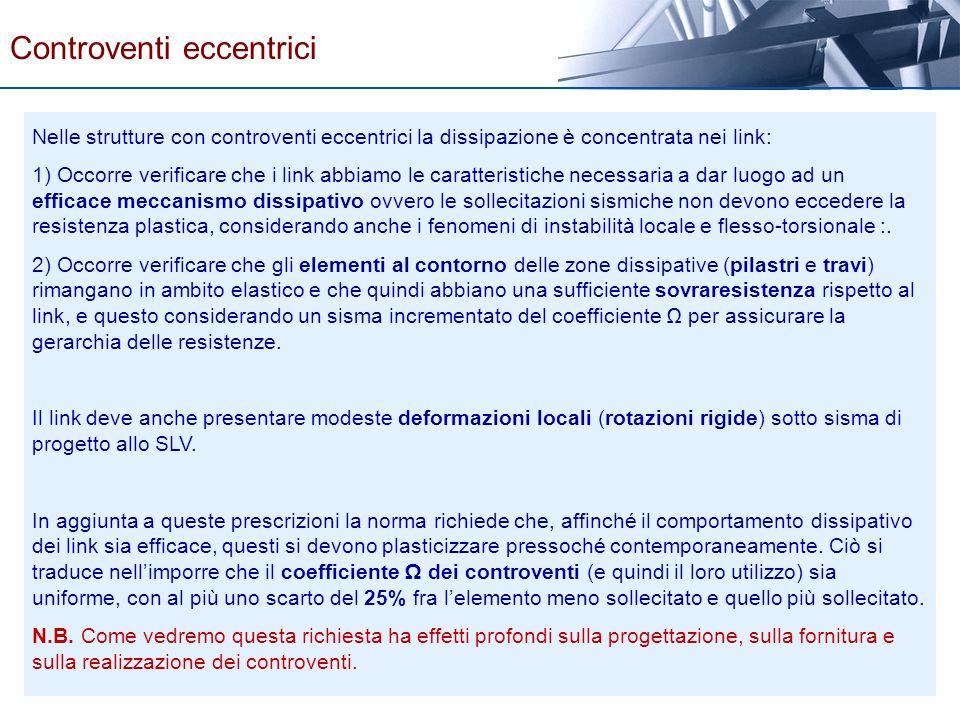 Nelle strutture con controventi eccentrici la dissipazione è concentrata nei link: 1) Occorre verificare che i link abbiamo le caratteristiche necessa