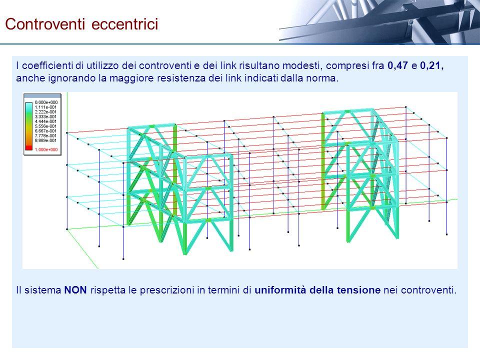 I coefficienti di utilizzo dei controventi e dei link risultano modesti, compresi fra 0,47 e 0,21, anche ignorando la maggiore resistenza dei link ind