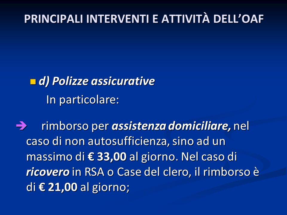 PRINCIPALI INTERVENTI E ATTIVITÀ DELLOAF d) Polizze assicurative d) Polizze assicurative In particolare: In particolare: rimborso per assistenza domic