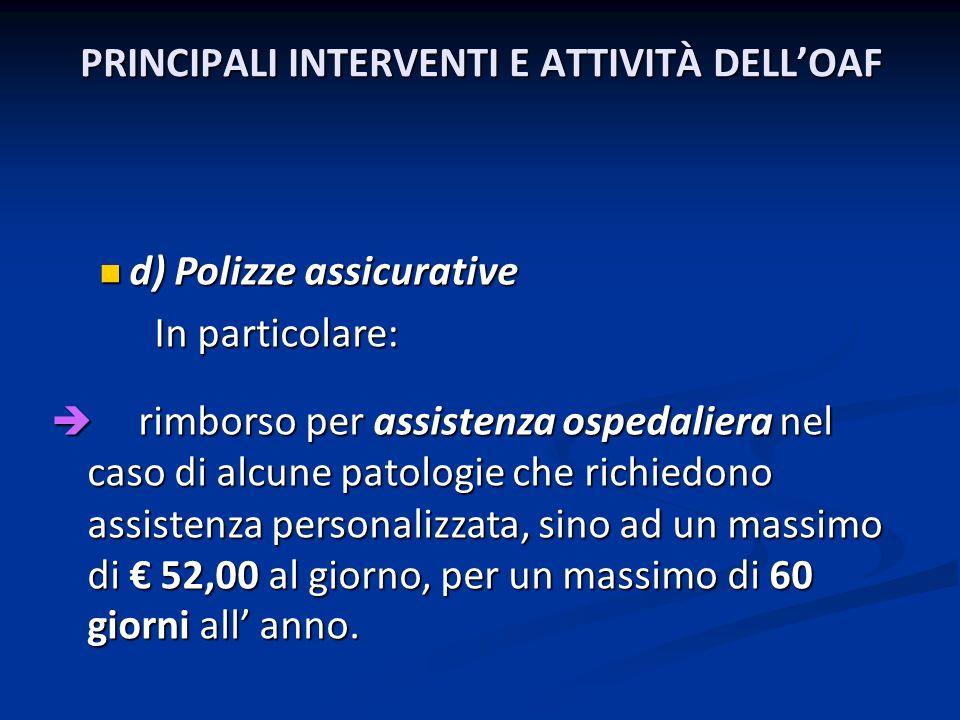 PRINCIPALI INTERVENTI E ATTIVITÀ DELLOAF d) Polizze assicurative d) Polizze assicurative In particolare: In particolare: rimborso per assistenza osped