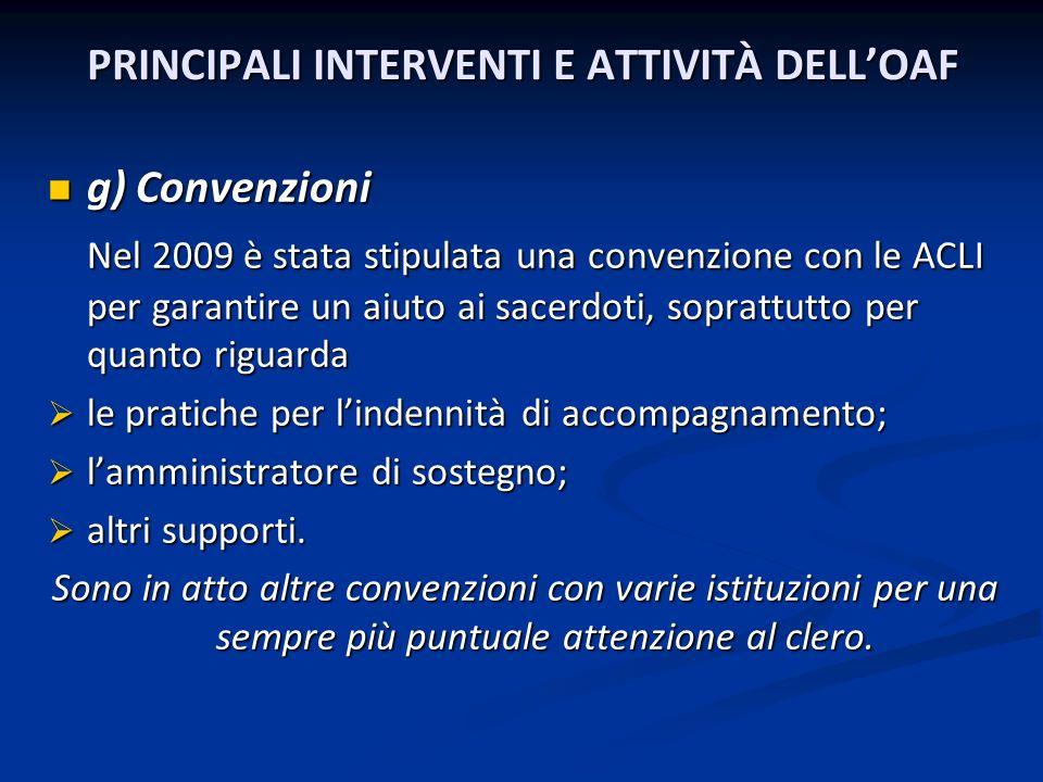 PRINCIPALI INTERVENTI E ATTIVITÀ DELLOAF PRINCIPALI INTERVENTI E ATTIVITÀ DELLOAF g) Convenzioni g) Convenzioni Nel 2009 è stata stipulata una convenz
