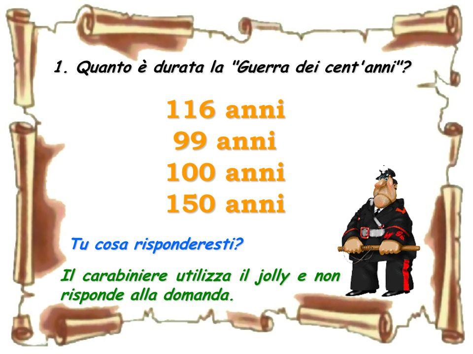 Un carabiniere che partecipa ad un gioco a quiz si sente rivolgere le seguenti domande… (prova a rispondere anche tu ed alla fine controlla chi è stat