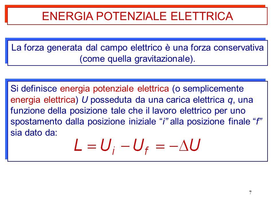 7 La forza generata dal campo elettrico è una forza conservativa (come quella gravitazionale). Si definisce energia potenziale elettrica (o sempliceme