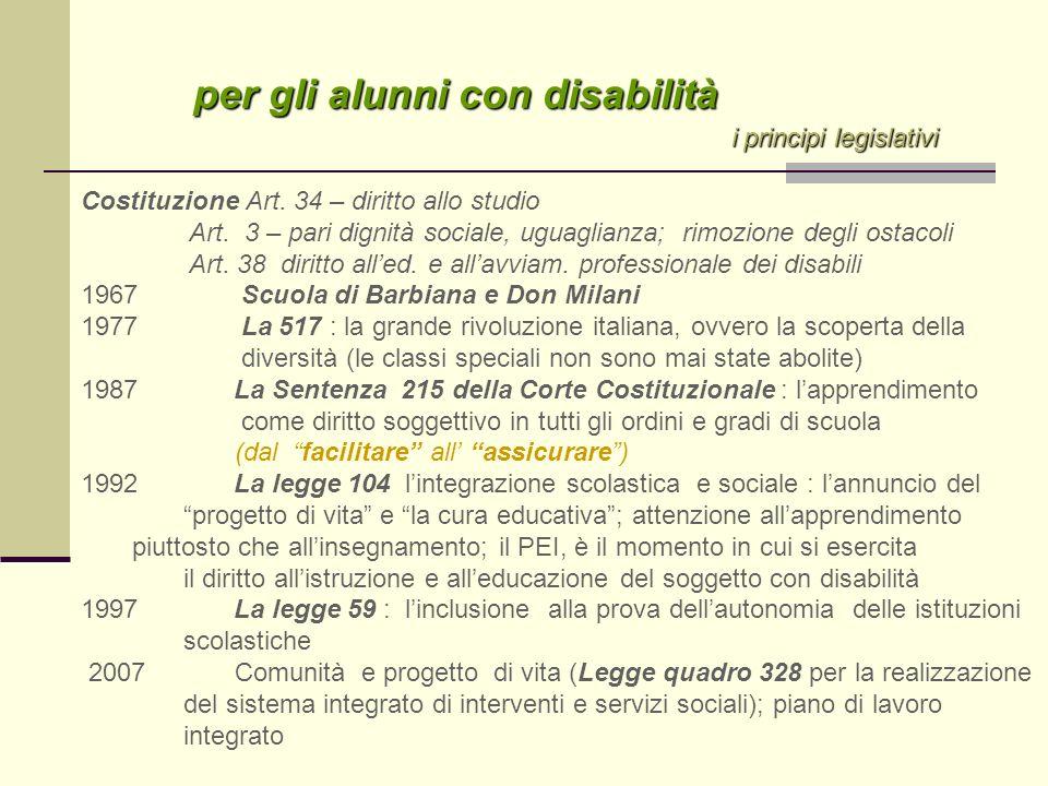 per gli alunni con disabilità per gli alunni con disabilità i principi legislativi i principi legislativi Costituzione Art. 34 – diritto allo studio A