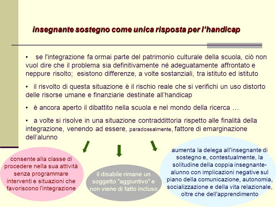 se l'integrazione fa ormai parte del patrimonio culturale della scuola, ciò non vuol dire che il problema sia definitivamente né adeguatamente affront