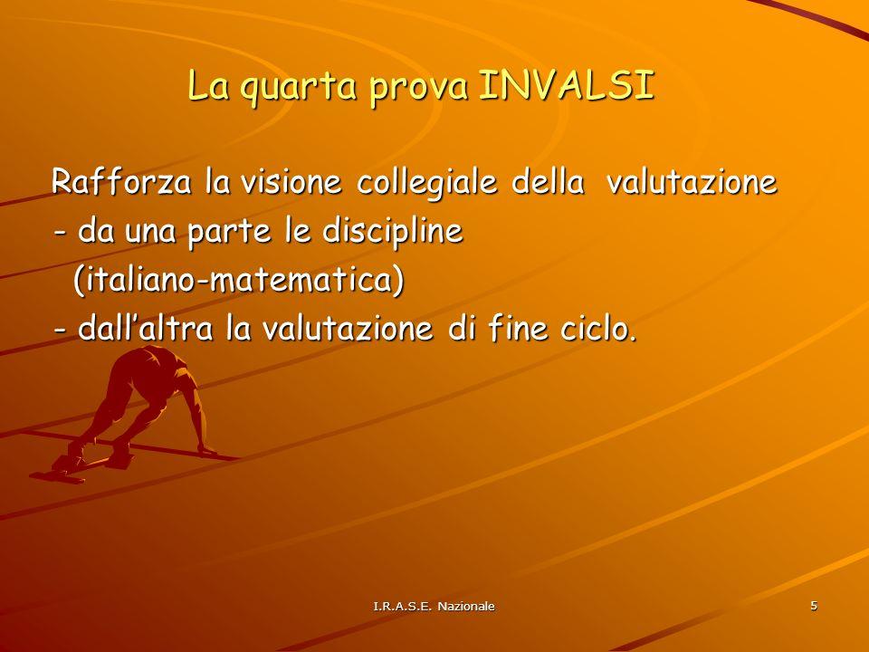 5 La quarta prova INVALSI Rafforza la visione collegiale della valutazione - da una parte le discipline - da una parte le discipline (italiano-matematica) (italiano-matematica) - dallaltra la valutazione di fine ciclo.