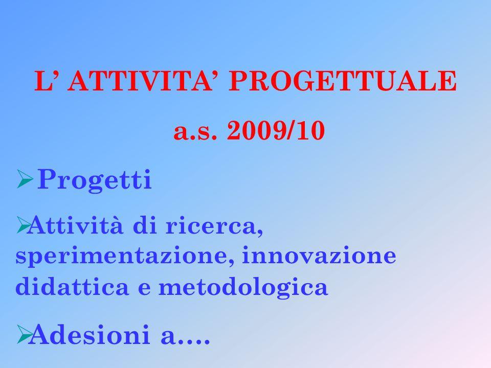 L ATTIVITA PROGETTUALE a.s. 2009/10 Progetti Attività di ricerca, sperimentazione, innovazione didattica e metodologica Adesioni a….