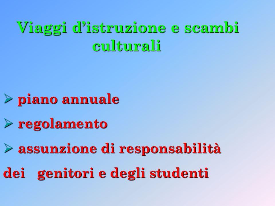 Viaggi distruzione e scambi culturali piano annuale piano annuale regolamento regolamento assunzione di responsabilità assunzione di responsabilità dei genitori e degli studenti