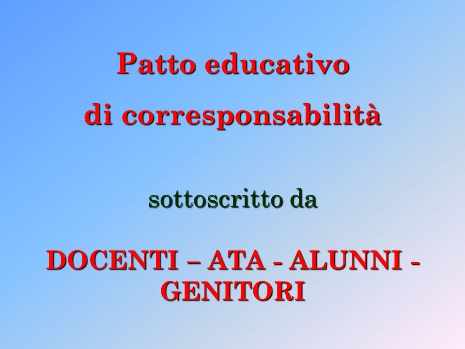Patto educativo di corresponsabilità sottoscritto da DOCENTI – ATA - ALUNNI - GENITORI
