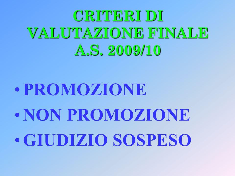 CRITERI DI VALUTAZIONE FINALE A.S. 2009/10 PROMOZIONE NON PROMOZIONE GIUDIZIO SOSPESO