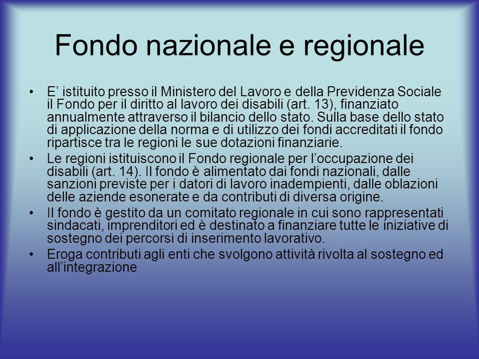 Fondo nazionale e regionale E istituito presso il Ministero del Lavoro e della Previdenza Sociale il Fondo per il diritto al lavoro dei disabili (art.