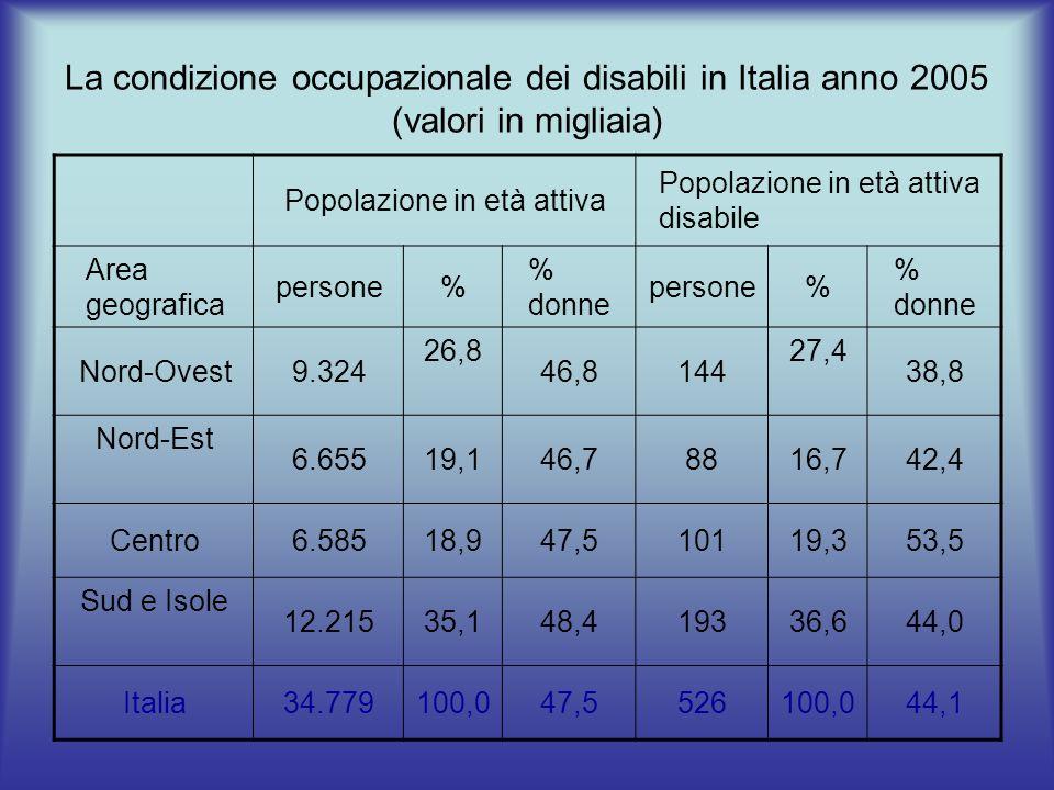La condizione occupazionale dei disabili in Italia anno 2005 (valori in migliaia) Popolazione in età attiva Popolazione in età attiva disabile Area geografica persone% % donne persone% % donne Nord-Ovest9.324 26,8 46,8144 27,4 38,8 Nord-Est 6.65519,146,78816,742,4 Centro6.58518,947,510119,353,5 Sud e Isole 12.21535,148,419336,644,0 Italia34.779100,047,5526100,044,1