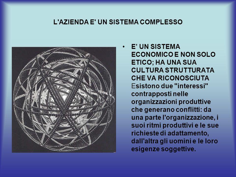 L'AZIENDA E' UN SISTEMA COMPLESSO E UN SISTEMA ECONOMICO E NON SOLO ETICO; HA UNA SUA CULTURA STRUTTURATA CHE VA RICONOSCIUTA Esistono due