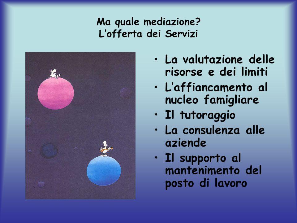 Ma quale mediazione? Lofferta dei Servizi La valutazione delle risorse e dei limiti Laffiancamento al nucleo famigliare Il tutoraggio La consulenza al