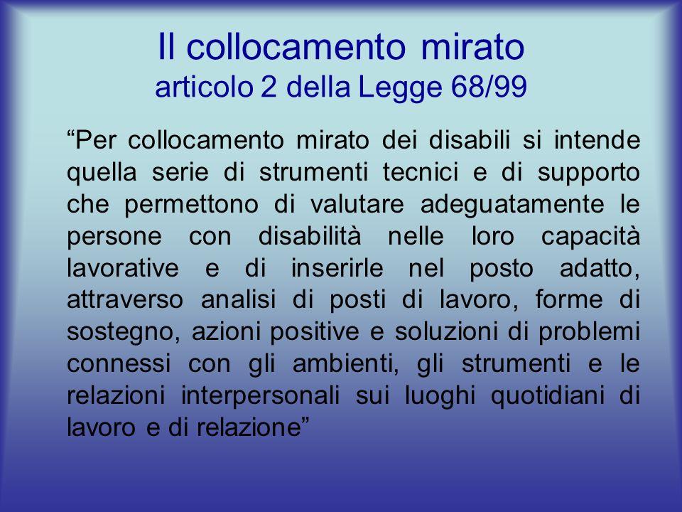 Il collocamento mirato articolo 2 della Legge 68/99 Per collocamento mirato dei disabili si intende quella serie di strumenti tecnici e di supporto ch