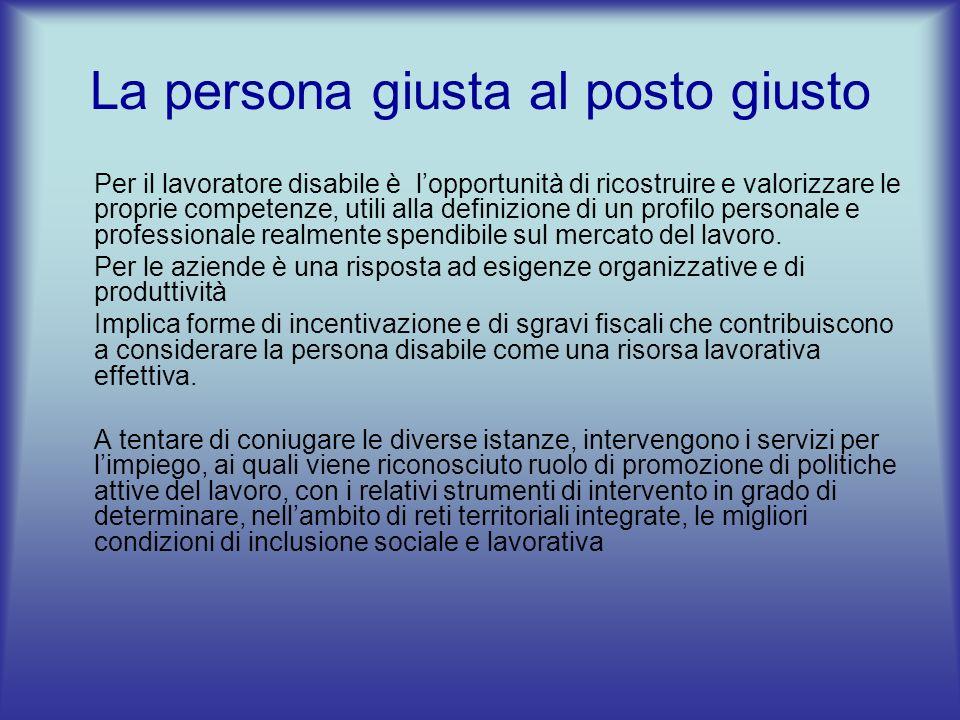 La persona giusta al posto giusto Per il lavoratore disabile è lopportunità di ricostruire e valorizzare le proprie competenze, utili alla definizione