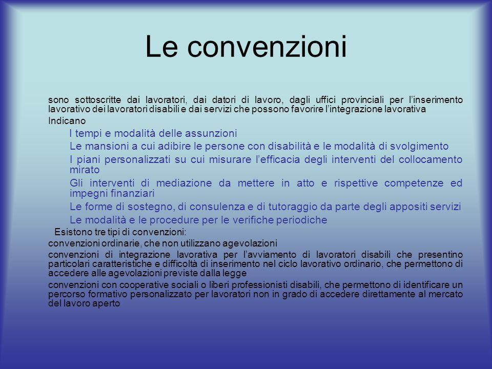 Le convenzioni sono sottoscritte dai lavoratori, dai datori di lavoro, dagli uffici provinciali per linserimento lavorativo dei lavoratori disabili e