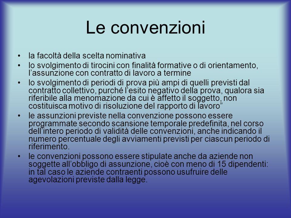 Le convenzioni la facoltà della scelta nominativa lo svolgimento di tirocini con finalità formative o di orientamento, lassunzione con contratto di la