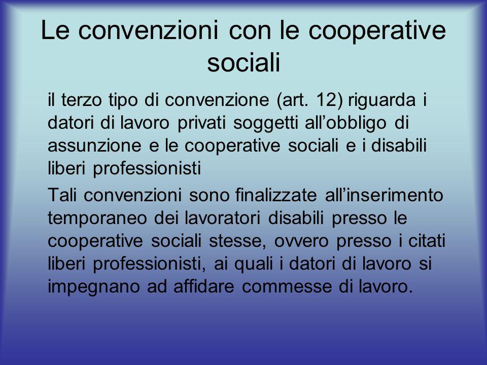Le convenzioni con le cooperative sociali il terzo tipo di convenzione (art. 12) riguarda i datori di lavoro privati soggetti allobbligo di assunzione