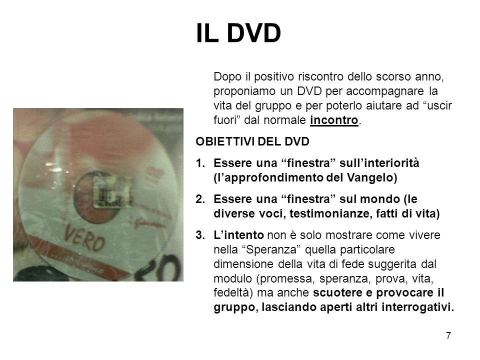 7 IL DVD Dopo il positivo riscontro dello scorso anno, proponiamo un DVD per accompagnare la vita del gruppo e per poterlo aiutare ad uscir fuori dal normale incontro.