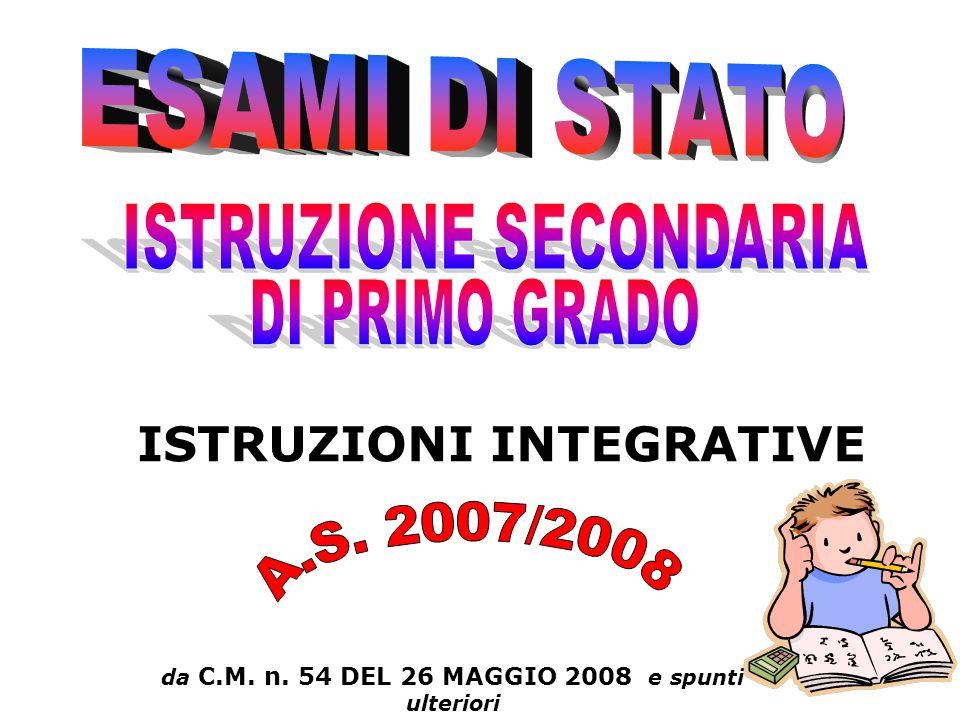 da C.M. n. 54 DEL 26 MAGGIO 2008 e spunti ulteriori ISTRUZIONI INTEGRATIVE