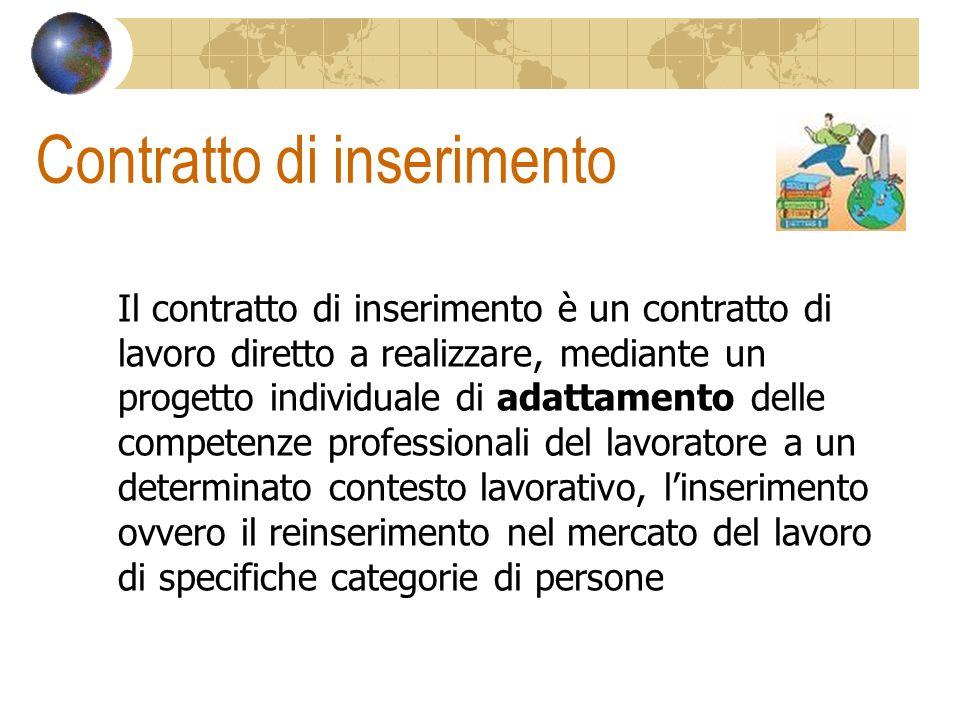 Contratto di inserimento Il contratto di inserimento è un contratto di lavoro diretto a realizzare, mediante un progetto individuale di adattamento de