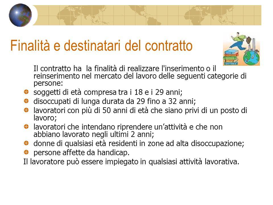 Finalità e destinatari del contratto Il contratto ha la finalità di realizzare l'inserimento o il reinserimento nel mercato del lavoro delle seguenti