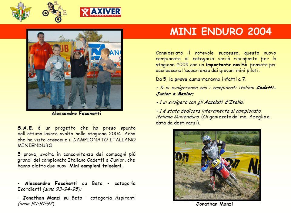 S.A.E. è un progetto che ha preso spunto dall'ottimo lavoro svolto nella stagione 2004. Anno che ha visto crescere il CAMPIONATO ITALIANO MINIENDURO.