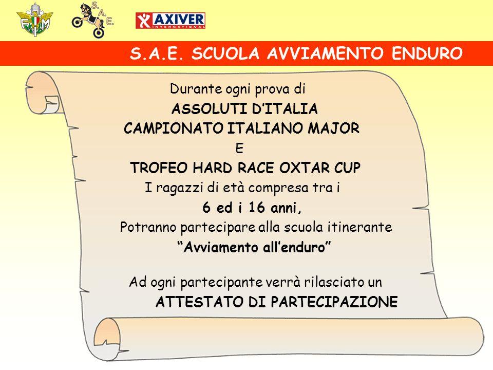Durante ogni prova di ASSOLUTI DITALIA CAMPIONATO ITALIANO MAJOR E TROFEO HARD RACE OXTAR CUP I ragazzi di età compresa tra i 6 ed i 16 anni, Potranno