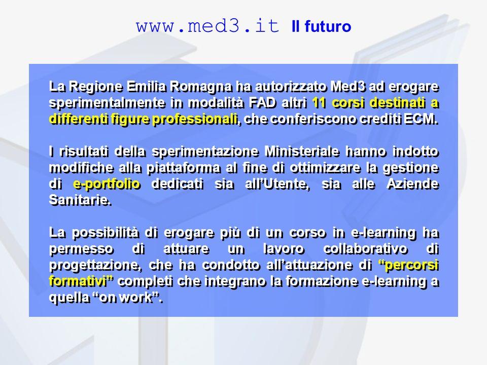 La Regione Emilia Romagna ha autorizzato Med3 ad erogare sperimentalmente in modalità FAD altri 11 corsi destinati a differenti figure professionali, che conferiscono crediti ECM.