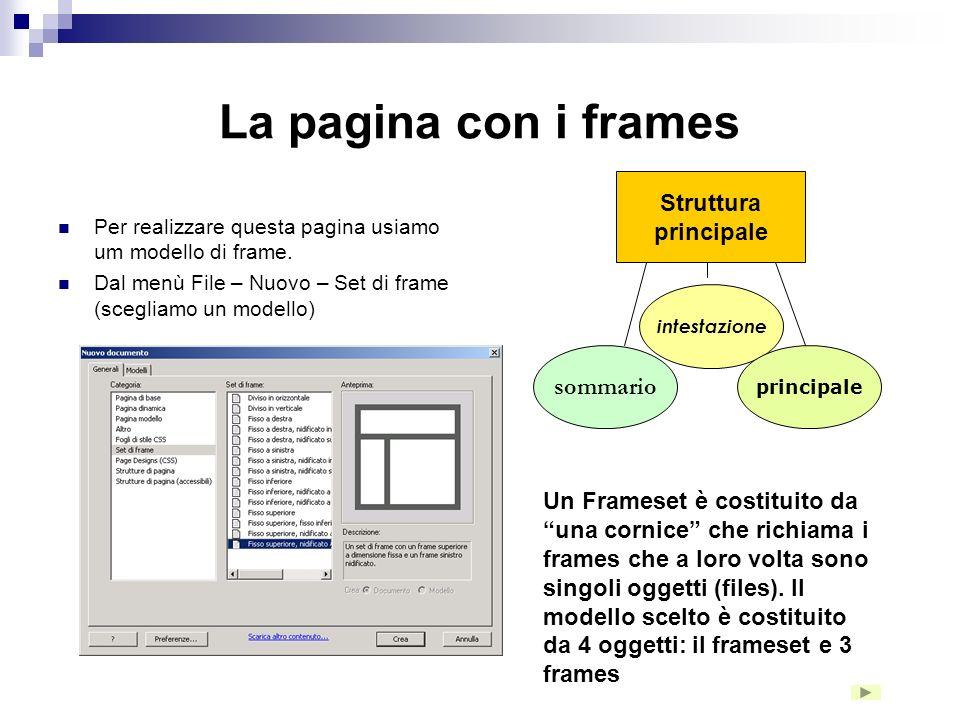 Formattiamo la pagina La maniglia ti consente di nascondere i pannelli Sul bottone flash attiviamo il collegamento ipertestuale alla pagina frameset_p