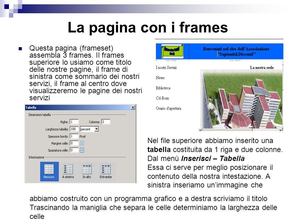 La pagina con i frames Per realizzare questa pagina usiamo um modello di frame. Dal menù File – Nuovo – Set di frame (scegliamo un modello) Struttura