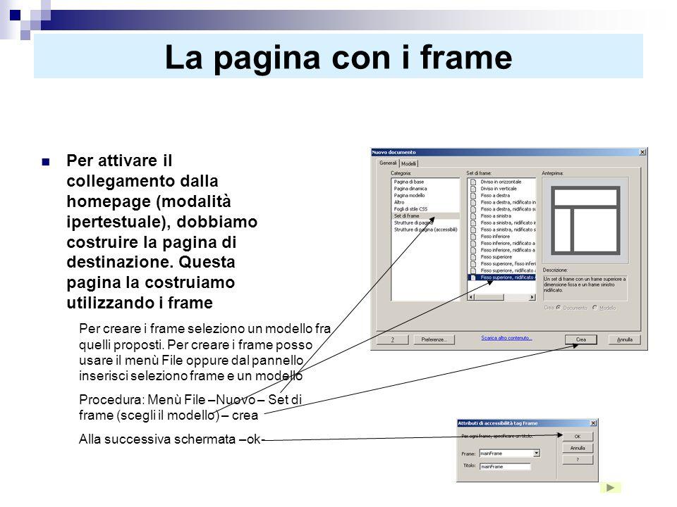 La pagina con i frames Questa pagina (frameset) assembla 3 frames. Il frames superiore lo usiamo come titolo delle nostre pagine, il frame di sinistra