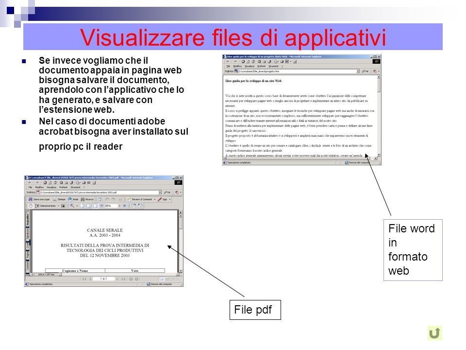 Visualizzare files di applicativi Per visualizzare dei documenti creati in word, excel, power point, acrobat ecc., ovvero creati con un programma appl