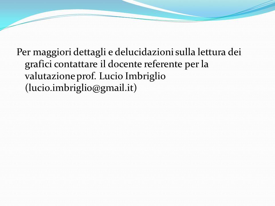 Per maggiori dettagli e delucidazioni sulla lettura dei grafici contattare il docente referente per la valutazione prof. Lucio Imbriglio (lucio.imbrig