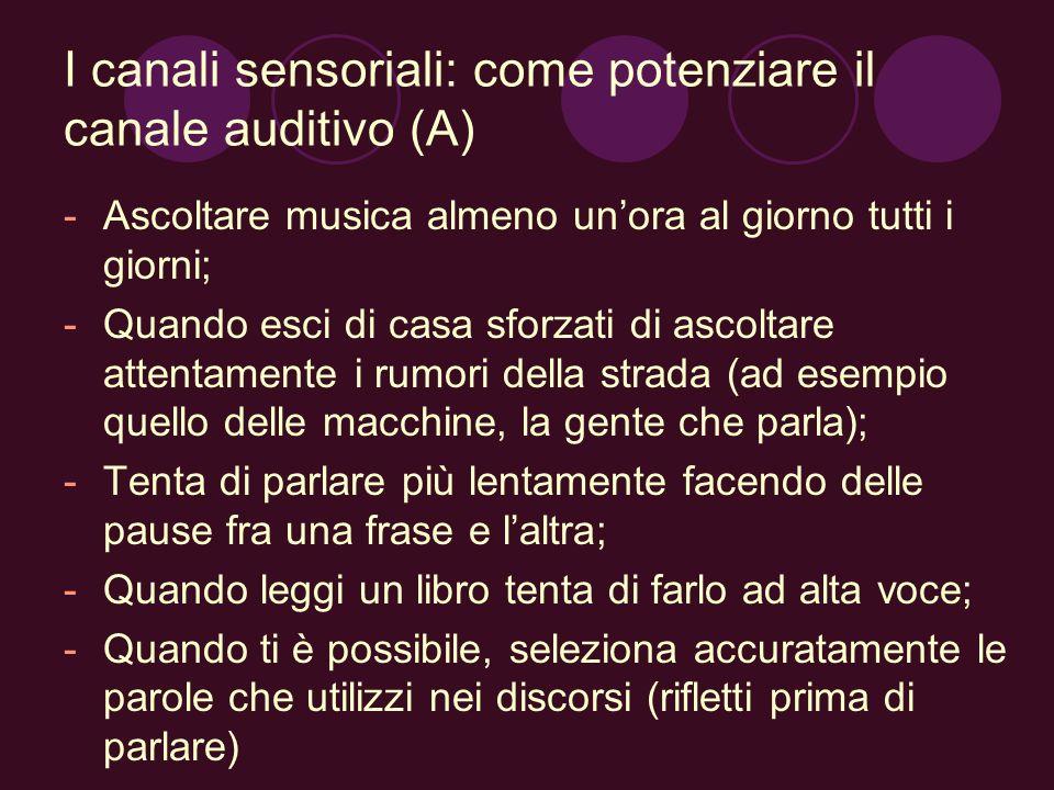 I canali sensoriali: come potenziare il canale auditivo (A) -Ascoltare musica almeno unora al giorno tutti i giorni; -Quando esci di casa sforzati di