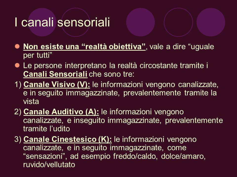 I canali sensoriali Non esiste una realtà obiettiva, vale a dire uguale per tutti Le persone interpretano la realtà circostante tramite i Canali Senso
