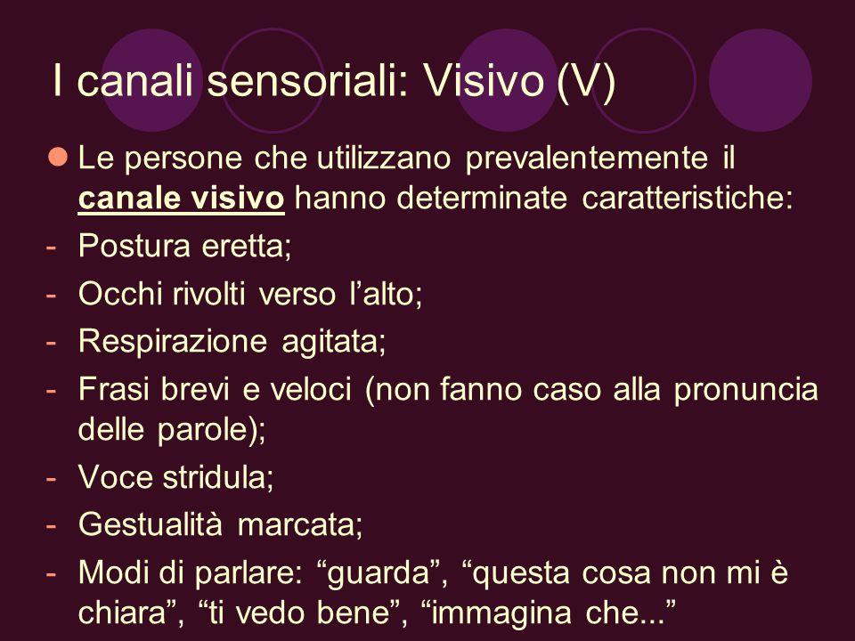 I canali sensoriali: Visivo (V) Le persone che utilizzano prevalentemente il canale visivo hanno determinate caratteristiche: -Postura eretta; -Occhi
