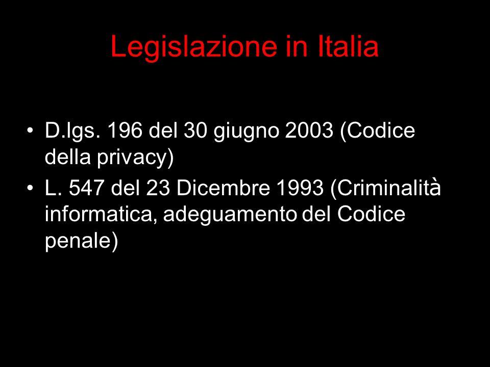 Legislazione in Italia D.lgs. 196 del 30 giugno 2003 (Codice della privacy) L.