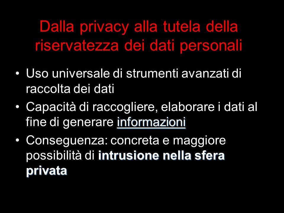 Dalla privacy alla tutela della riservatezza dei dati personali Uso universale di strumenti avanzati di raccolta dei dati informazioniCapacità di raccogliere, elaborare i dati al fine di generare informazioni intrusione nella sfera privataConseguenza: concreta e maggiore possibilità di intrusione nella sfera privata