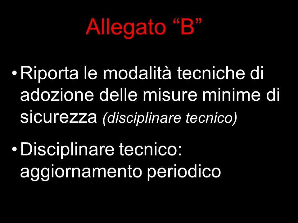 Allegato B Riporta le modalità tecniche di adozione delle misure minime di sicurezza (disciplinare tecnico) Disciplinare tecnico: aggiornamento periodico