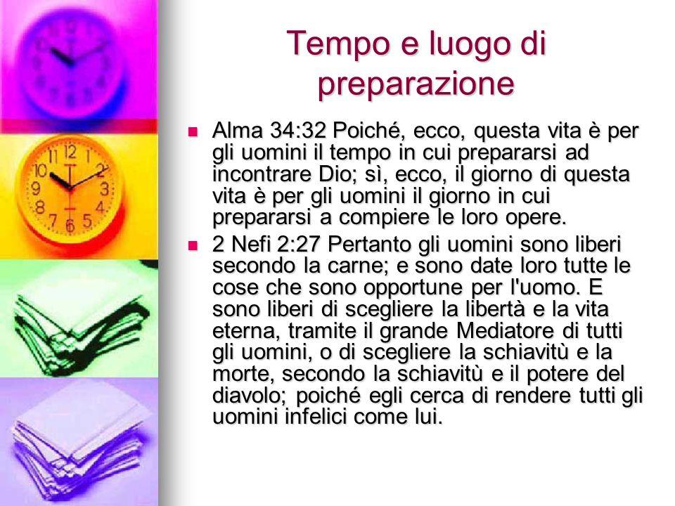 Tempo e luogo di preparazione Alma 34:32 Poiché, ecco, questa vita è per gli uomini il tempo in cui prepararsi ad incontrare Dio; sì, ecco, il giorno di questa vita è per gli uomini il giorno in cui prepararsi a compiere le loro opere.