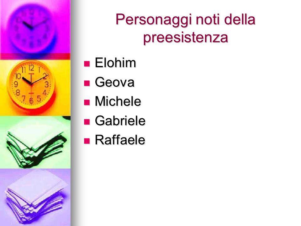 Personaggi noti della preesistenza Elohim Elohim Geova Geova Michele Michele Gabriele Gabriele Raffaele Raffaele
