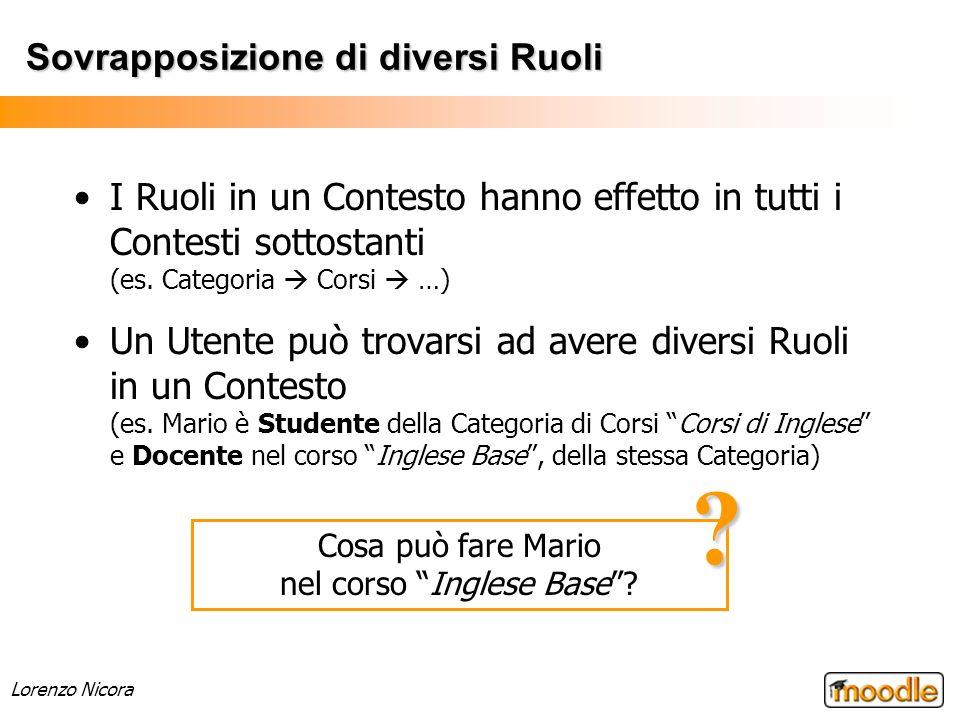 Lorenzo Nicora Sovrapposizione di diversi Ruoli I Ruoli in un Contesto hanno effetto in tutti i Contesti sottostanti (es. Categoria Corsi …) Un Utente