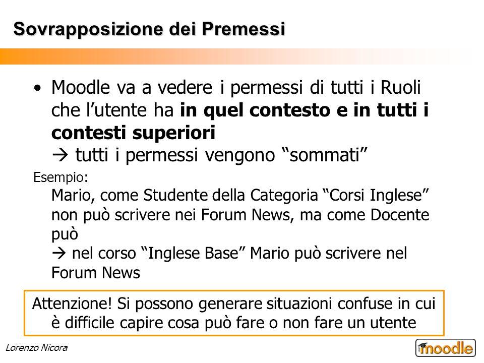 Lorenzo Nicora Sovrapposizione dei Premessi Moodle va a vedere i permessi di tutti i Ruoli che lutente ha in quel contesto e in tutti i contesti super