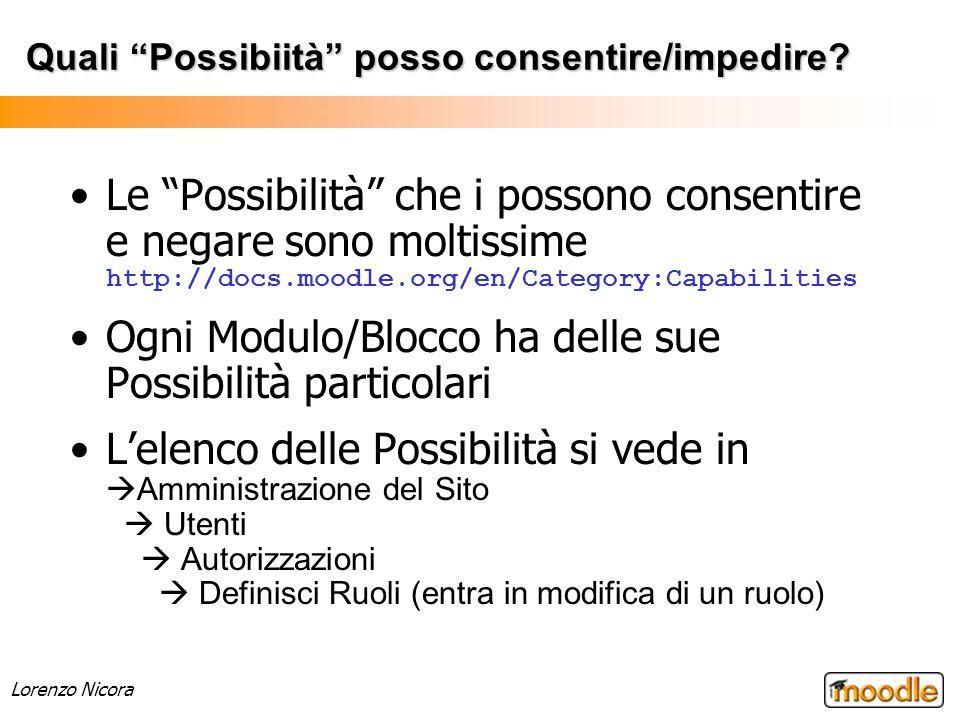 Lorenzo Nicora Quali Possibiità posso consentire/impedire? Le Possibilità che i possono consentire e negare sono moltissime http://docs.moodle.org/en/