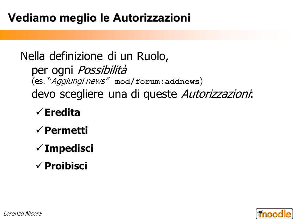 Lorenzo Nicora Vediamo meglio le Autorizzazioni Nella definizione di un Ruolo, per ogni Possibilità (es. Aggiungi news mod/forum:addnews ) devo scegli