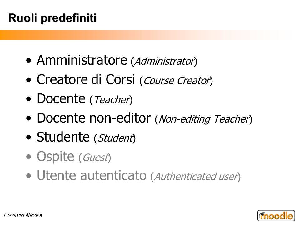 Lorenzo Nicora Ruoli predefiniti Amministratore (Administrator) Creatore di Corsi (Course Creator) Docente (Teacher) Docente non-editor (Non-editing T